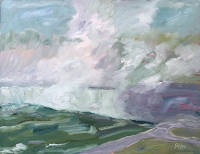 A painting looking into the gorge of Horseshoe Falls and ist